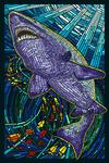 Tiger Shark Paper Mosaic - Lantern Press Poster