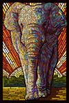 Asian Elephant - Paper Mosaic - Lantern Press Poster