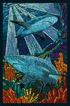 Black Tip Reef Shark - Paper Mosaic - Lantern Press Poster