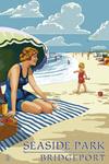Bridgeport, Connecticut - Woman on the Beach - Lantern Press Original Poster