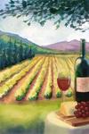 Wine Country & Vineyard Scene - Watercolor - Lantern Press Artwork