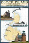 Block Island, Rhode Island - Nautical Chart w/ Ferry - Lantern Press Poster
