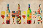 Wine Bottle & Glass Group - Contermporary Squares - Lantern Press Artwork