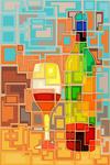 Wine Bottle & Glass - Contemporary Squares - Lantern Press Artwork