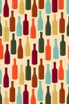 Wine Bottle Pattern (Cream Background) - Lantern Press Artwork