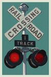 Railroad Crossing - Letterpress - Lantern Press Poster