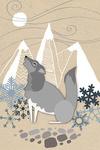 Winter Wolf Howling - Lantern Press Artwork