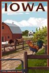 Iowa - Barnyard Scene - Lantern Press Artwork