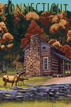 Connecticut - Cabin & Deer Family - Lantern Press Poster