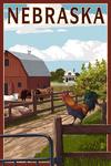 Nebraska - Barnyard Scene - Lantern Press Artwork