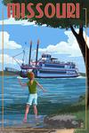 Missouri - River Boat - Lantern Press Poster