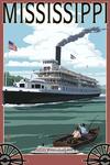 Mississippi - Riverboat & Rowboat - Lantern Press Poster
