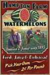 Watermelon Farm - Vintage Sign - Lantern Press Poster
