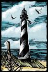 Lighthouse - Scratchboard - Lantern Press Artwork