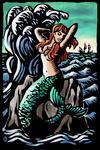 Mermaid - Scratchboard - Lantern Press Poster