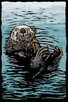 Sea Otter - Scratchboard - Lantern Press Artwork