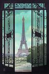 Paris, France - Eiffel Tower & Gate Lithograph Style - Lantern Press Artwork