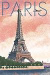 Paris, France - Eiffel Tower & River - Lithograph Style- Lantern Press Artwork
