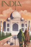 Taj Mahal, India - Lithograph Style - Lantern Press Artwork