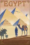 Egypt - Pyramids - Lithograph Style - Lantern Press Artwork