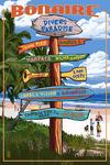 Bonaire, Dutch Caribbean - Destination Sign - Lantern Press Artwork