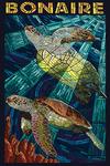 Bonaire, Dutch Caribbean - Sea Turtle Mosaic - Lantern Press Poster