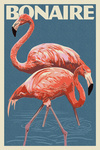 Bonaire, Dutch Caribbean - Flamingo - Letterpress - Lantern Press Artwork
