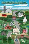 Nebraska - Retro Style Countryside - Lantern Press Poster