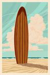 Surfboard - Letterpress - Lantern Press Poster