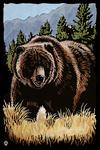 Grizzly Bear - Scratchboard - Lantern Press Artwork