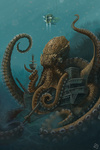 Octopus & Submersible - Lantern Press Artwork