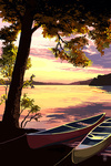 Canoe & Lake at Sunset - Lantern Press Artwork