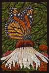 Monarch Butterfly - Paper Mosaic - Green Background - Lantern Press Poster