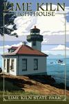 San Juan Island, Washington - Lime Kiln State Park - Lighthouse Day Scene - Lantern Press Artwork