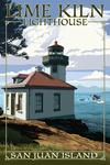 San Juan Island, Washington - Lime Kiln Lighthouse Day Scene - Lantern Press Artwork