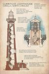 Outer Banks, North Carolina - Currituck Beach Lighthouse Technical - Lantern Press Artwork