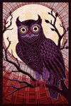Owl - Paper Mosaic (Red) - Lantern Press Poster