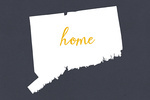Connecticut - Home State - White on Gray - Lantern Press Artwork