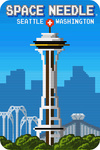 Seattle, Washington - Space Needle - 8-Bit Retro Video Game - Lantern Press Artwork