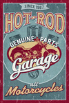 Hot Rod Garage - Motorcycles - Vintage Sign - Lantern Press Artwork