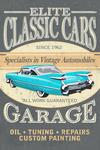 Elite Classic Cars Garage - Vintage Sign - Lantern Press Artwork