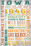 Iowa - Rustic Typography - Lantern Press Artwork