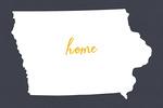 Iowa - Home State- White on Gray - Lantern Press Artwork