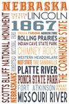 Nebraska - Typography - Lantern Press Artwork