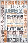 Nebraska - Rustic Typography - Lantern Press Artwork