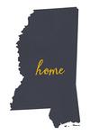 Mississippi - Home State - Gray on White - Lantern Press Artwork