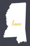 Mississippi - Home State - White on Gray - Lantern Press Artwork