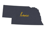 Nebraska - Home State - Gray on White - Lantern Press Artwork