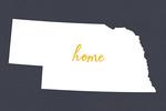 Nebraska - Home State - White on Gray - Lantern Press Artwork