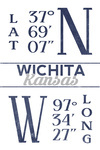 Wichita, Kansas - Latitude & Longitude (Blue) - Lantern Press Artwork